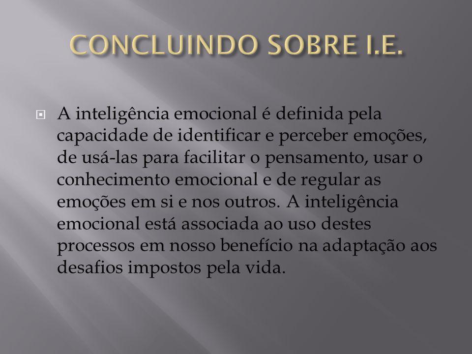  A inteligência emocional é definida pela capacidade de identificar e perceber emoções, de usá-las para facilitar o pensamento, usar o conhecimento e