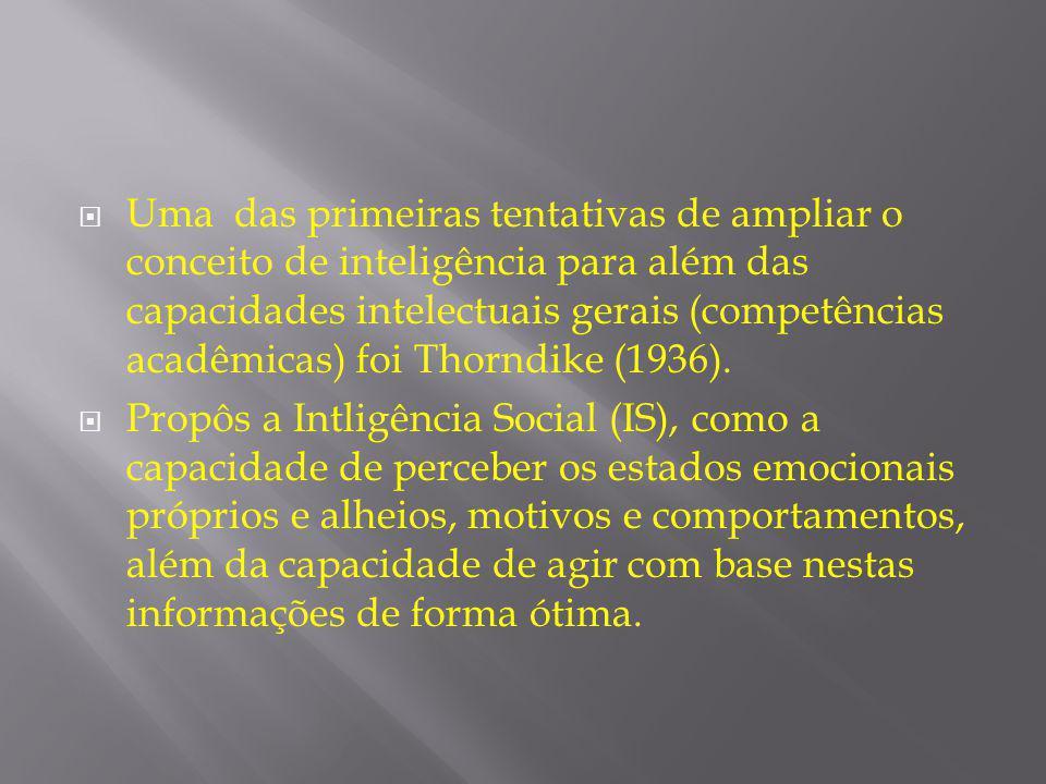  Uma das primeiras tentativas de ampliar o conceito de inteligência para além das capacidades intelectuais gerais (competências acadêmicas) foi Thorn