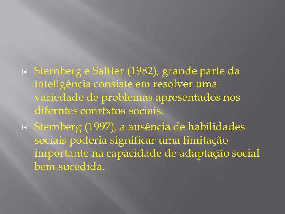  Sternberg e Saltter (1982), grande parte da inteligência consiste em resolver uma variedade de problemas apresentados nos diferntes conrtxtos sociai