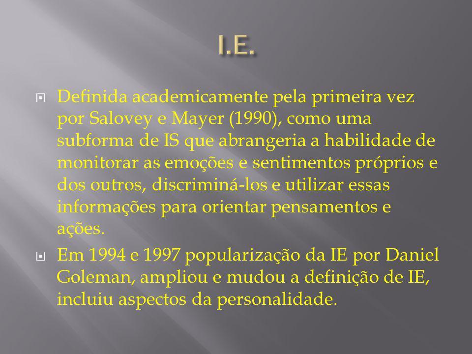  Definida academicamente pela primeira vez por Salovey e Mayer (1990), como uma subforma de IS que abrangeria a habilidade de monitorar as emoções e