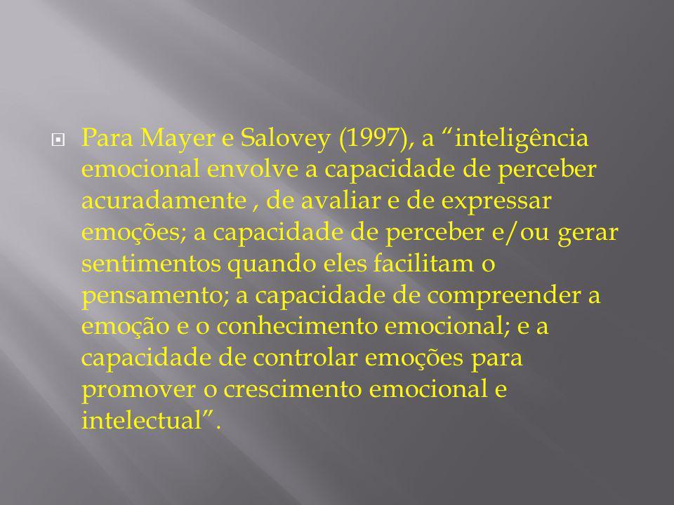 """ Para Mayer e Salovey (1997), a """"inteligência emocional envolve a capacidade de perceber acuradamente, de avaliar e de expressar emoções; a capacidad"""