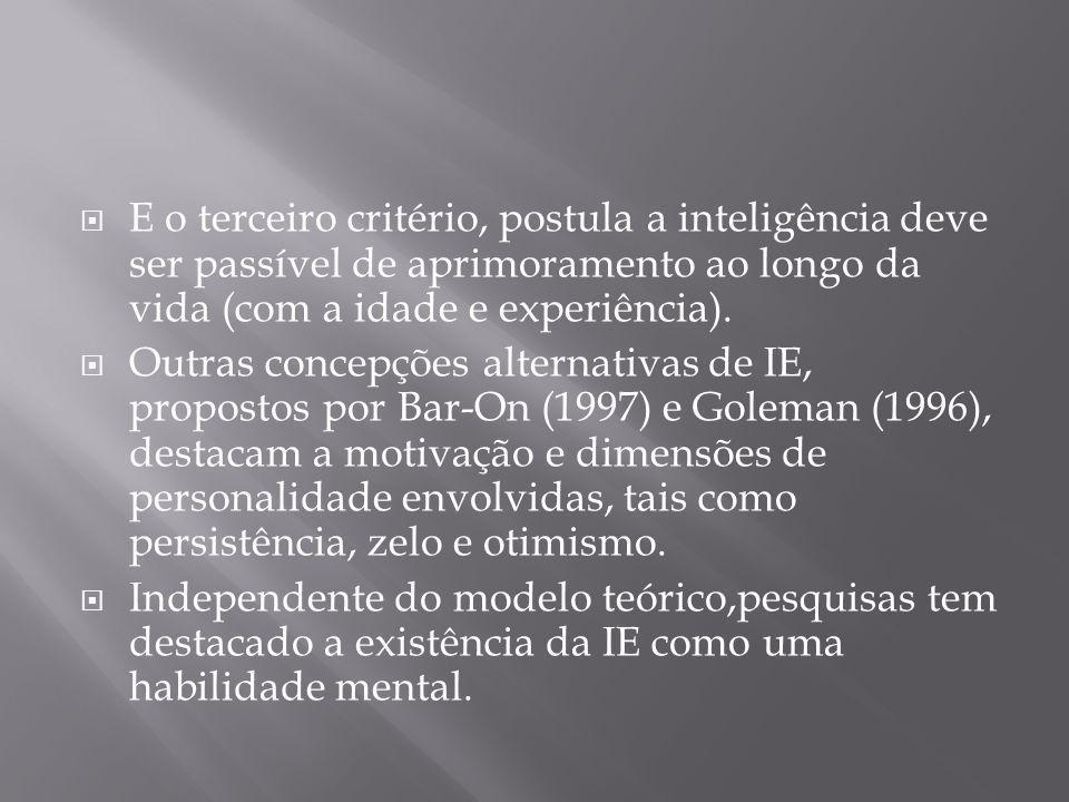  E o terceiro critério, postula a inteligência deve ser passível de aprimoramento ao longo da vida (com a idade e experiência).  Outras concepções a