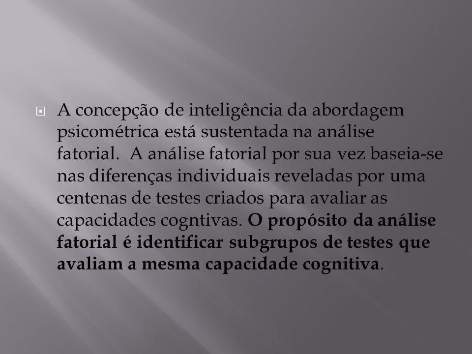  A concepção de inteligência da abordagem psicométrica está sustentada na análise fatorial. A análise fatorial por sua vez baseia-se nas diferenças i
