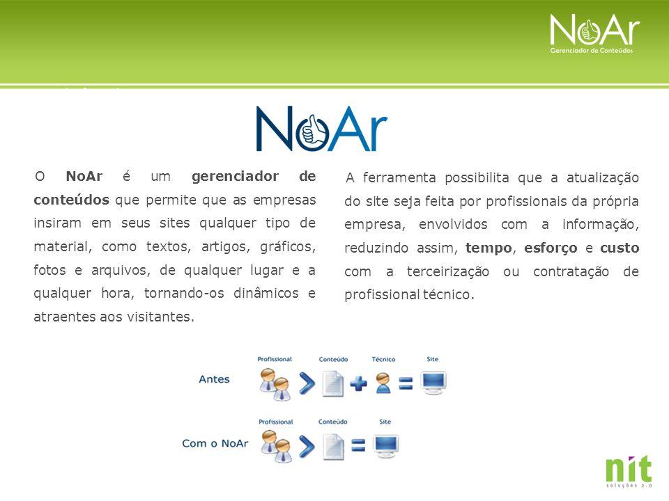 O NoAr é um gerenciador de conteúdos que permite que as empresas insiram em seus sites qualquer tipo de material, como textos, artigos, gráficos, foto