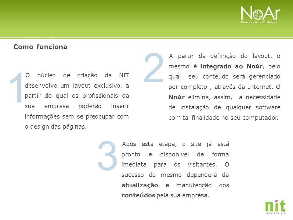 3 2 1 O núcleo de criação da NIT desenvolve um layout exclusivo, a partir do qual os profissionais da sua empresa poderão inserir informações sem se p