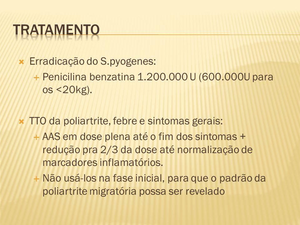  Erradicação do S.pyogenes:  Penicilina benzatina 1.200.000 U (600.000U para os <20kg).  TTO da poliartrite, febre e sintomas gerais:  AAS em dose