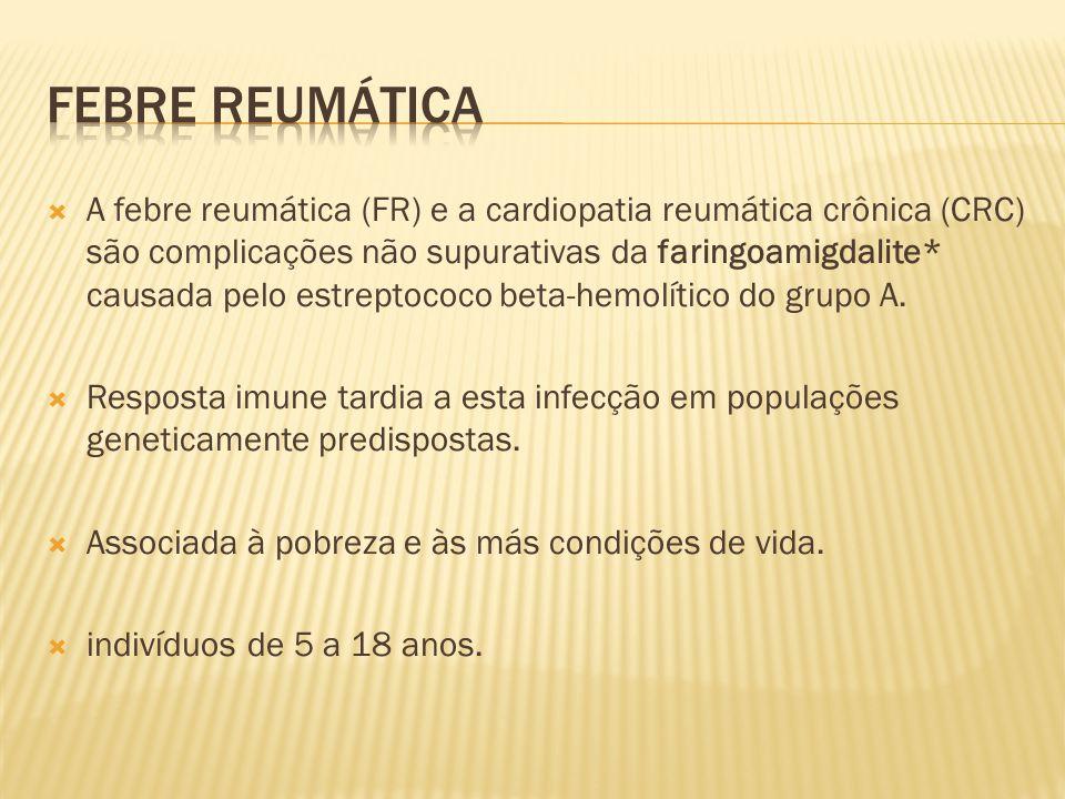  A febre reumática (FR) e a cardiopatia reumática crônica (CRC) são complicações não supurativas da faringoamigdalite* causada pelo estreptococo beta