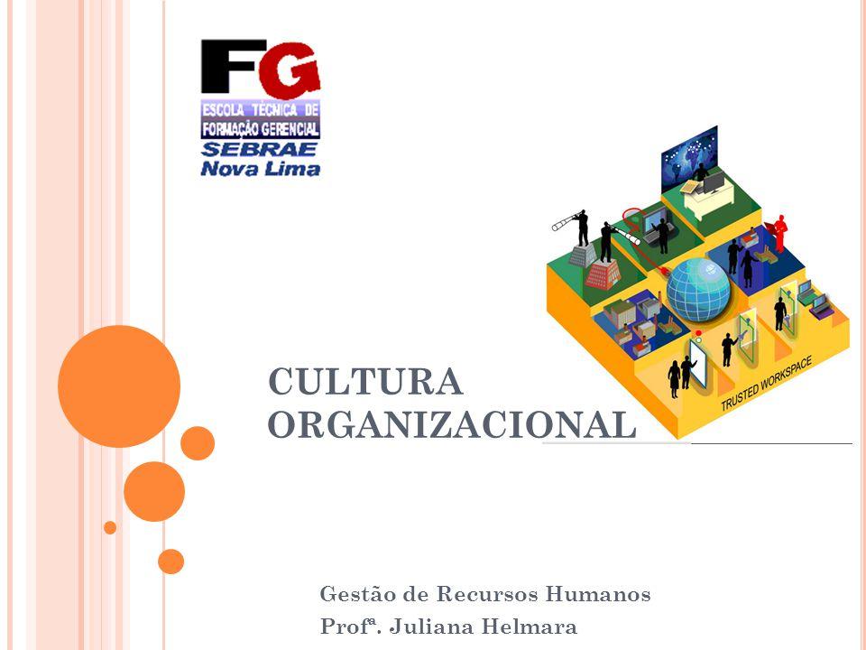 Gestão de Recursos Humanos Profª. Juliana Helmara CULTURA ORGANIZACIONAL