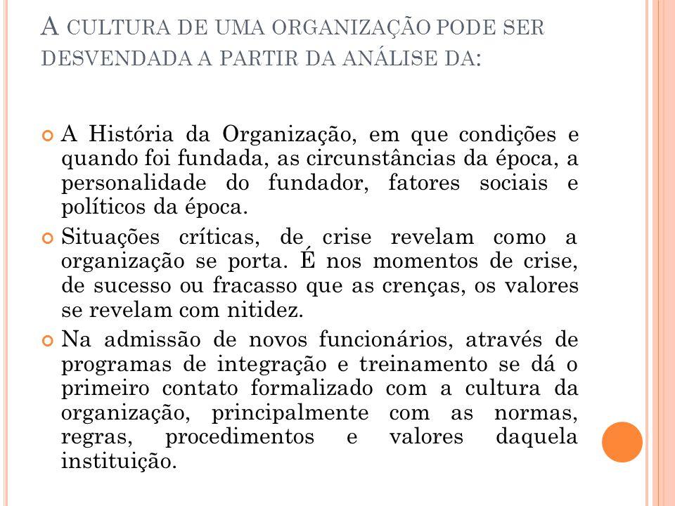 A CULTURA DE UMA ORGANIZAÇÃO PODE SER DESVENDADA A PARTIR DA ANÁLISE DA : A História da Organização, em que condições e quando foi fundada, as circuns