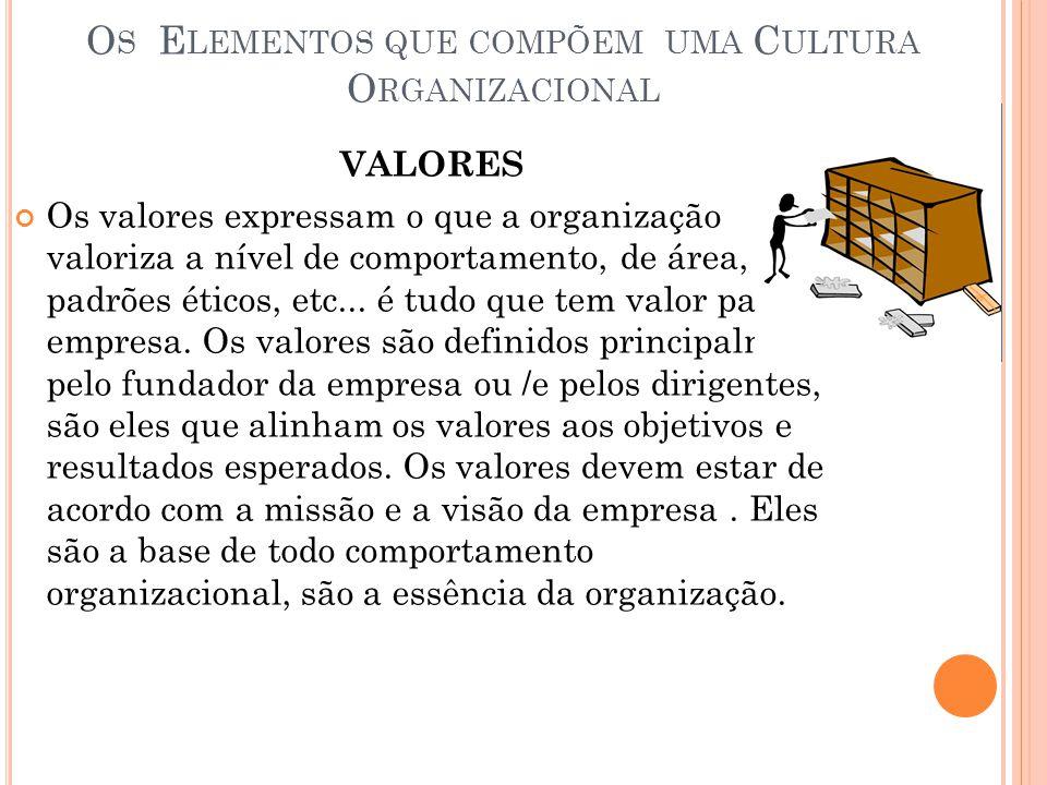 O S E LEMENTOS QUE COMPÕEM UMA C ULTURA O RGANIZACIONAL VALORES Os valores expressam o que a organização valoriza a nível de comportamento, de área, d