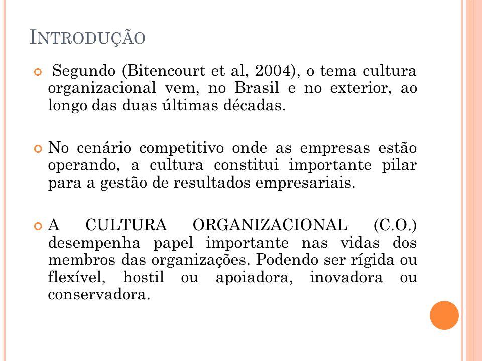 I NTRODUÇÃO Segundo (Bitencourt et al, 2004), o tema cultura organizacional vem, no Brasil e no exterior, ao longo das duas últimas décadas. No cenári