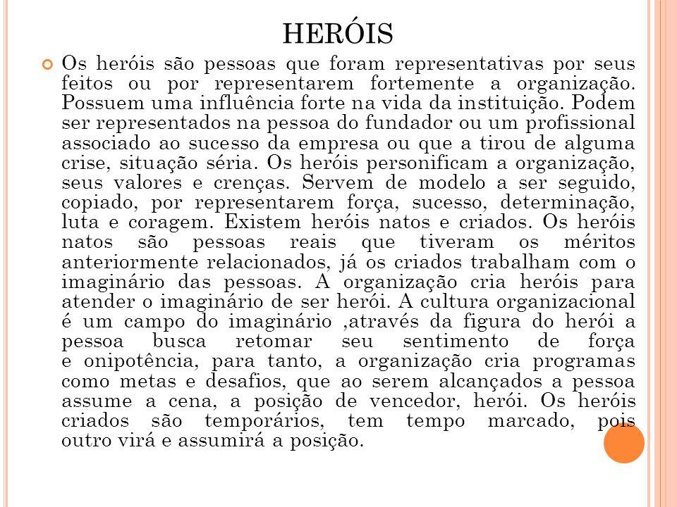 HERÓIS Os heróis são pessoas que foram representativas por seus feitos ou por representarem fortemente a organização. Possuem uma influência forte na