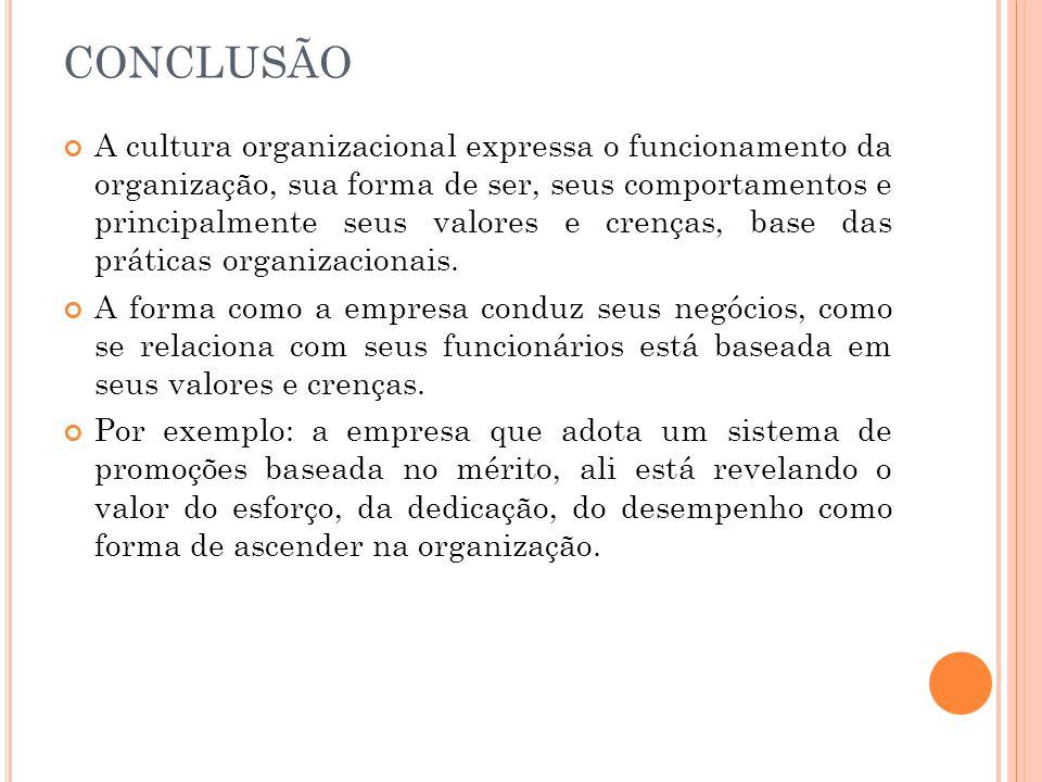 CONCLUSÃO A cultura organizacional expressa o funcionamento da organização, sua forma de ser, seus comportamentos e principalmente seus valores e cren