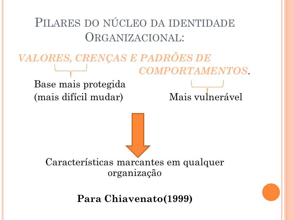 P ILARES DO NÚCLEO DA IDENTIDADE O RGANIZACIONAL : VALORES, CRENÇAS E PADRÕES DE COMPORTAMENTOS. Base mais protegida (mais difícil mudar) Mais vulnerá