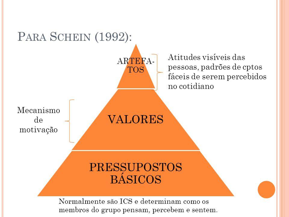 P ARA S CHEIN (1992): ARTEFA- TOS VALORES PRESSUPOSTOS BÁSICOS Atitudes visíveis das pessoas, padrões de cptos fáceis de serem percebidos no cotidiano