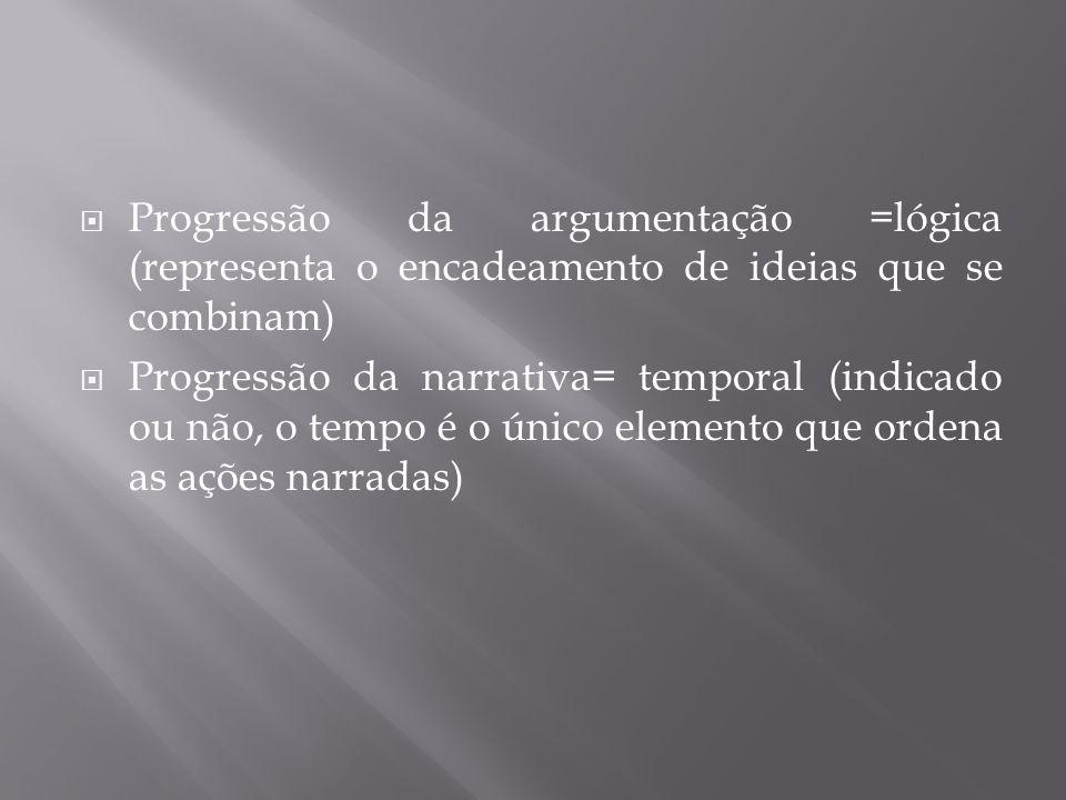  Progressão da argumentação =lógica (representa o encadeamento de ideias que se combinam)  Progressão da narrativa= temporal (indicado ou não, o tempo é o único elemento que ordena as ações narradas)