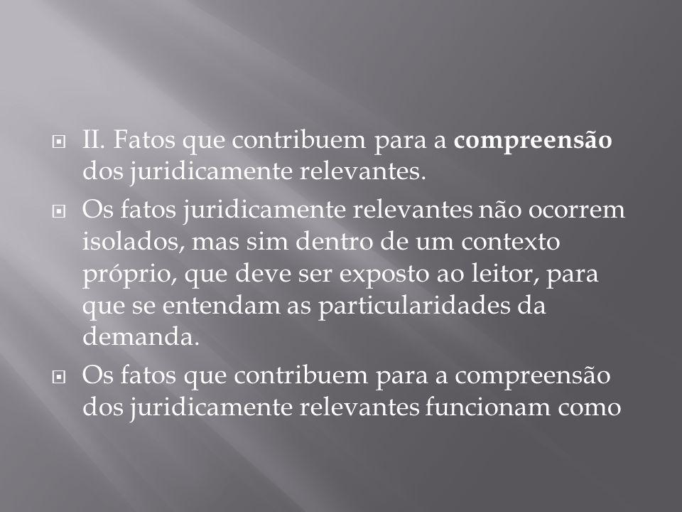  II.Fatos que contribuem para a compreensão dos juridicamente relevantes.