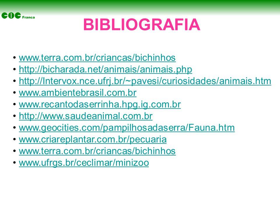 BIBLIOGRAFIA • www.terra.com.br/criancas/bichinhoswww.terra.com.br/criancas/bichinhos • http://bicharada.net/animais/animais.phphttp://bicharada.net/animais/animais.php • http://Intervox.nce.ufrj.br/~pavesi/curiosidades/animais.htmhttp://Intervox.nce.ufrj.br/~pavesi/curiosidades/animais.htm • www.ambientebrasil.com.brwww.ambientebrasil.com.br • www.recantodaserrinha.hpg.ig.com.brwww.recantodaserrinha.hpg.ig.com.br • http://www.saudeanimal.com.brhttp://www.saudeanimal.com.br • www.geocities.com/pampilhosadaserra/Fauna.htmwww.geocities.com/pampilhosadaserra/Fauna.htm • www.criareplantar.com.br/pecuariawww.criareplantar.com.br/pecuaria • www.terra.com.br/criancas/bichinhoswww.terra.com.br/criancas/bichinhos • www.ufrgs.br/ceclimar/minizoowww.ufrgs.br/ceclimar/minizoo
