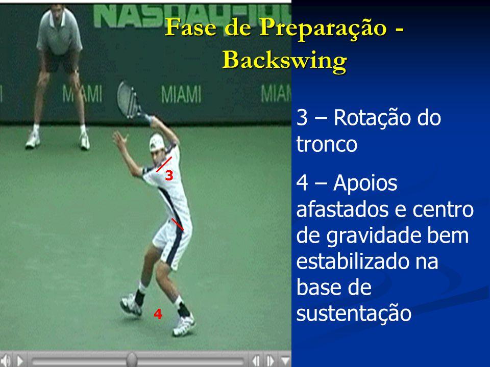 5 – Braço esquerdo ajuda a equilibrar o corpo (geralmente a apontar para a bola) Fase de Preparação - Backswing