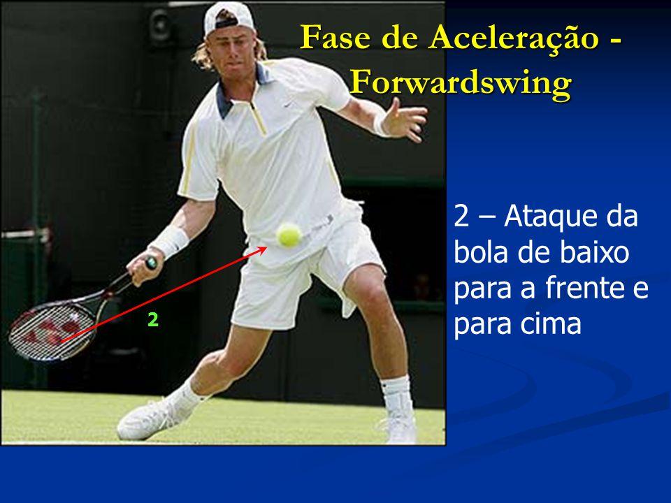3 – Aproveitamento do peso da cabeça da raquete e início da aceleração do braço 4 – Extensão das pernas com incidência na perna de apoio Fase de Aceleração - Forwardswing 3 4