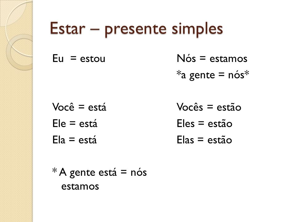 Estar – presente simples Eu = estou Você = está Ele = está Ela = está * A gente está = nós estamos Nós = estamos *a gente = nós* Vocês = estão Eles =
