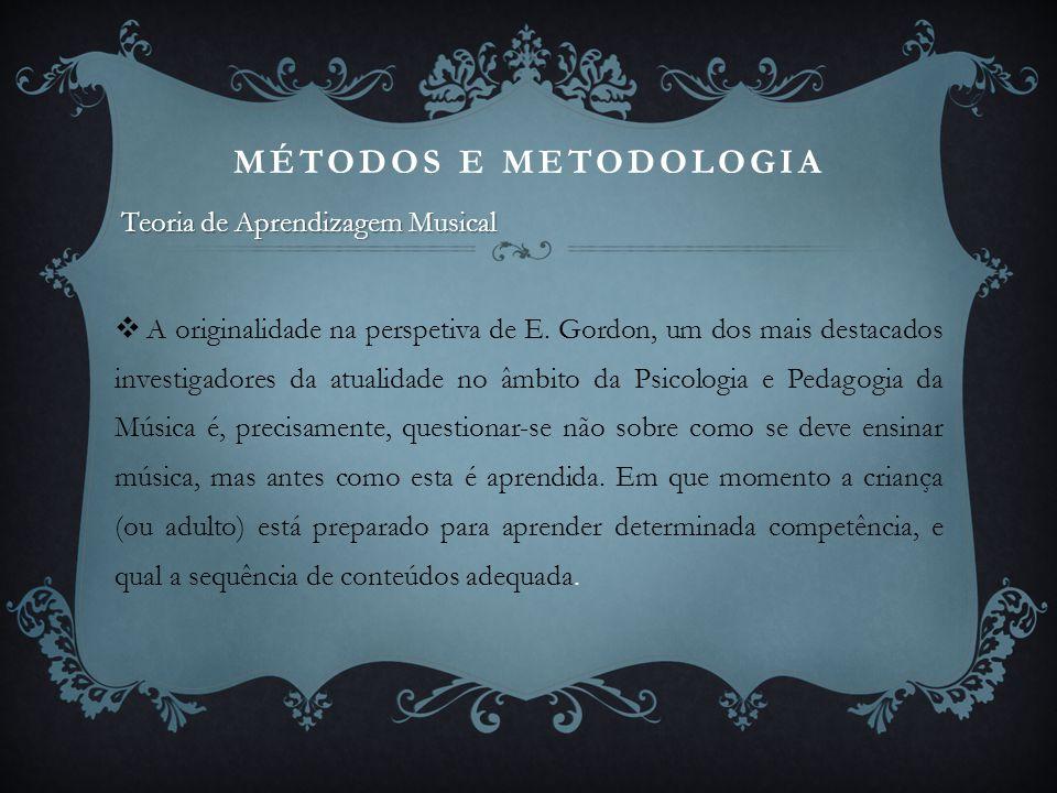 MÉTODOS E METODOLOGIA Teoria de Aprendizagem Musical  A originalidade na perspetiva de E. Gordon, um dos mais destacados investigadores da atualidade