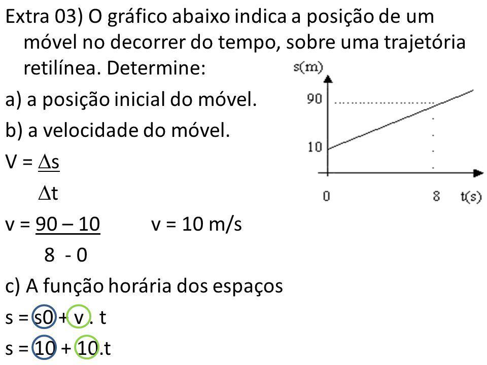Extra 03) O gráfico abaixo indica a posição de um móvel no decorrer do tempo, sobre uma trajetória retilínea. Determine: a) a posição inicial do móvel
