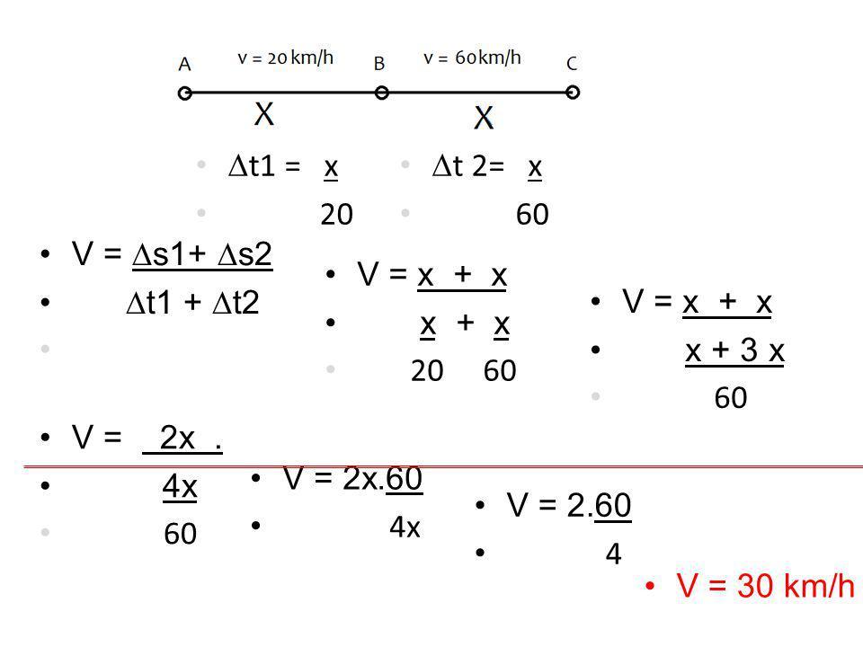 •V =  s1+  s2 •  t1 +  t2 • •V = x + x • x + 3 x • 60 •V = x + x • x + x • 20 60 •V = 2x. • 4x • 60 •V = 2x.60 • 4x •V = 2.60 • 4 •V = 30 km/h • 