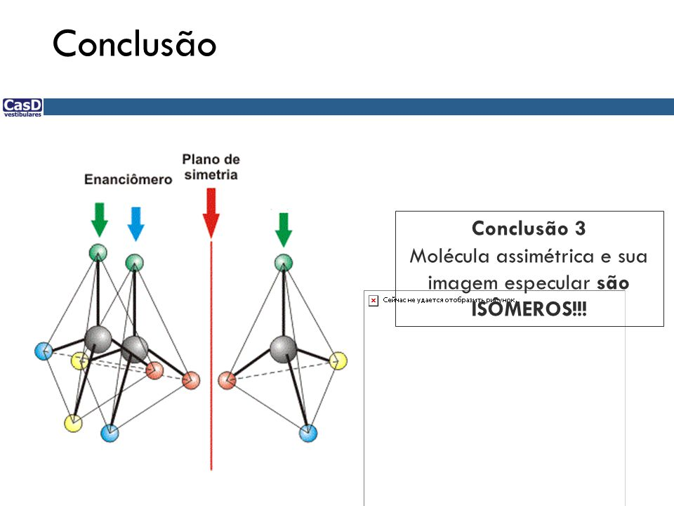 Conclusão Conclusão 3 Molécula assimétrica e sua imagem especular são ISÔMEROS!!!