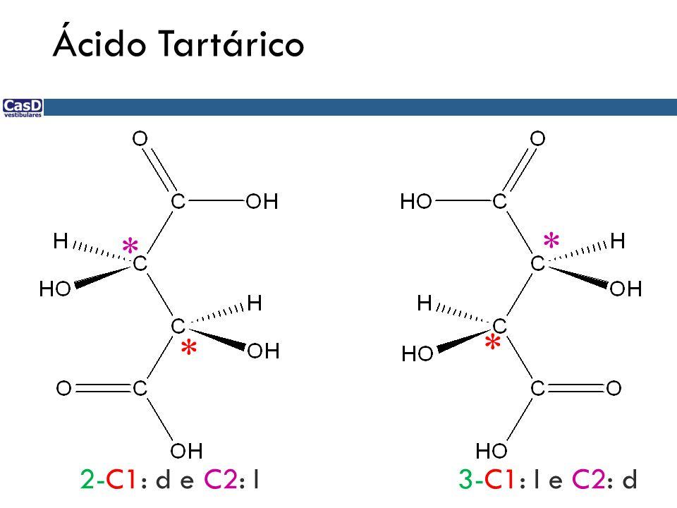 Ácido Tartárico * * * * 2-C1: d e C2: l3-C1: l e C2: d