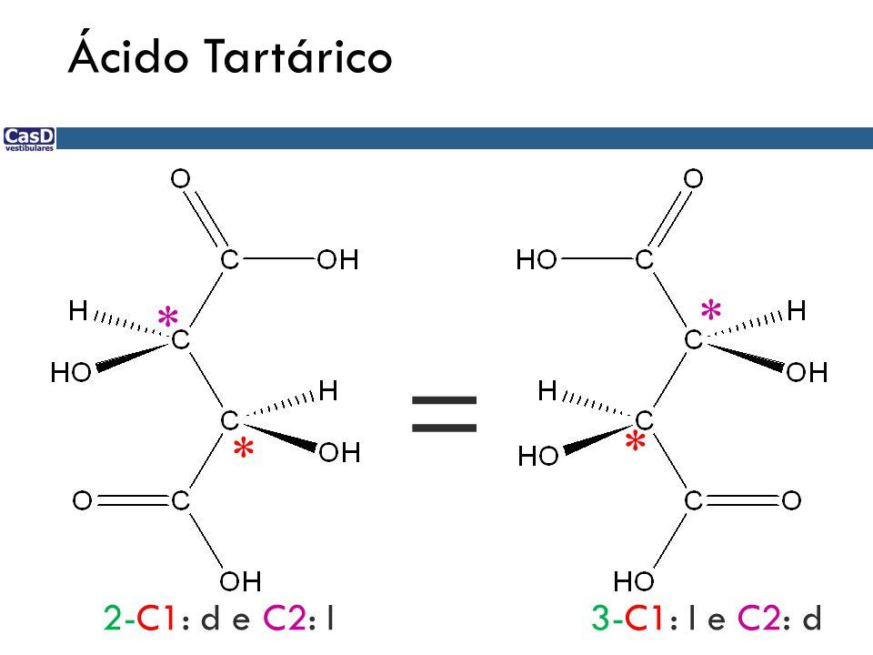 Ácido Tartárico * * * * 2-C1: d e C2: l3-C1: l e C2: d =