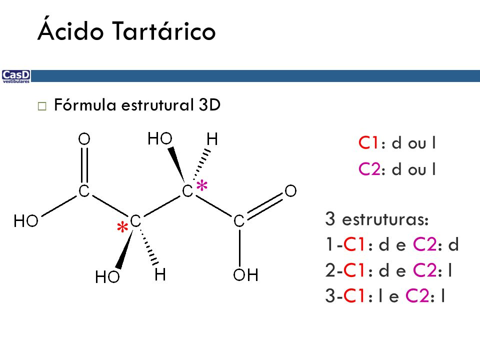 Ácido Tartárico  Fórmula estrutural 3D * * C1: d ou l C2: d ou l 3 estruturas: 1-C1: d e C2: d 2-C1: d e C2: l 3-C1: l e C2: l