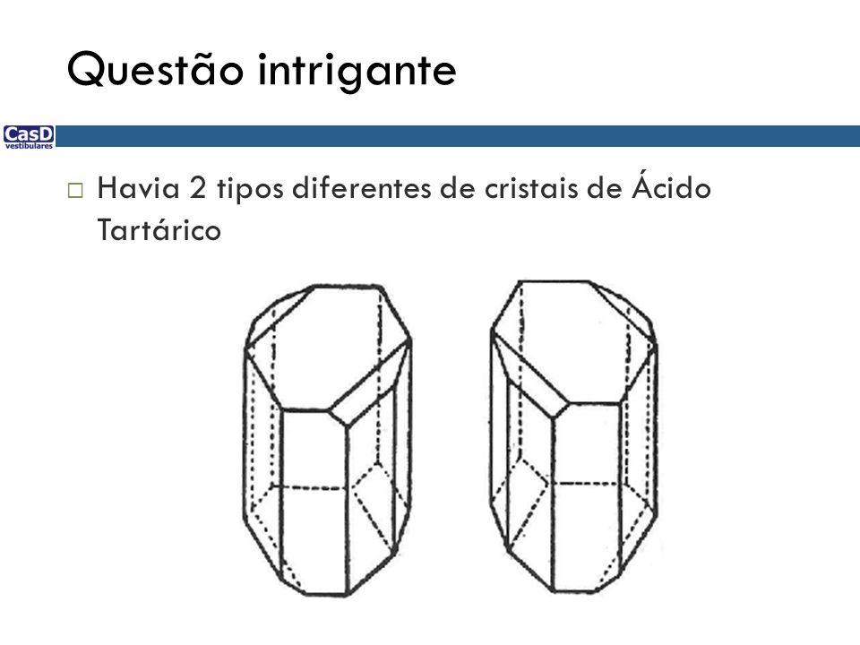 Questão intrigante  Havia 2 tipos diferentes de cristais de Ácido Tartárico