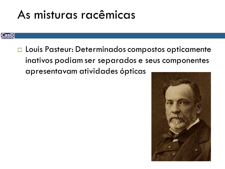  Louis Pasteur: Determinados compostos opticamente inativos podiam ser separados e seus componentes apresentavam atividades ópticas