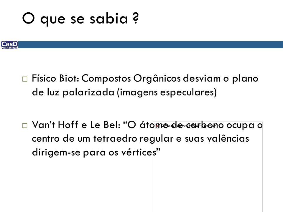 "O que se sabia ?  Físico Biot: Compostos Orgânicos desviam o plano de luz polarizada (imagens especulares)  Van't Hoff e Le Bel: ""O átomo de carbono"