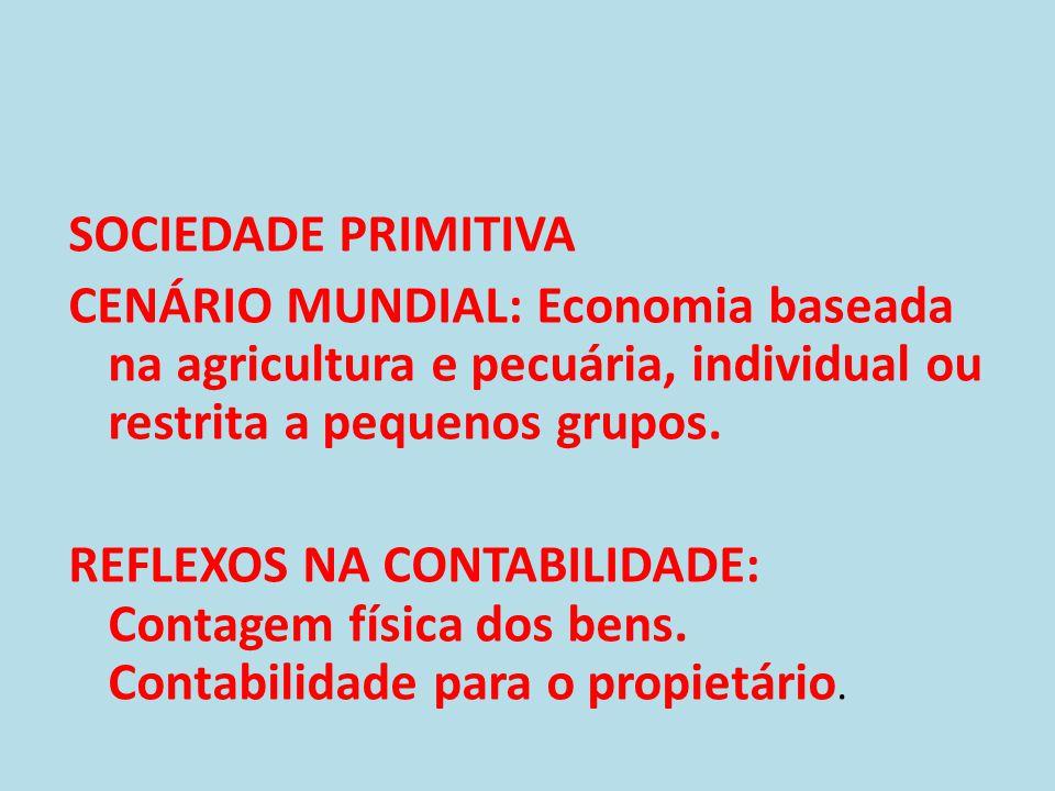 • * SOCIEDADE AGRÍCOLA • CENÁRIO MUNDIAL: Economia baseada na agricultura; método de produção artesanal; início das relações comerciais com o advento das descobertas marítimas; formação de sociedades comerciais.
