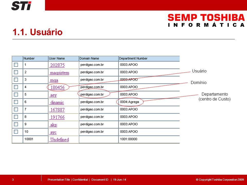 © Copyright Toshiba Corporation 2009 1.1. Usuário Presentation Title | Confidential | Document ID | 19-Jun-143 Usuário Domínio Departamento (centro de