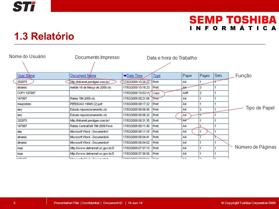 © Copyright Toshiba Corporation 2009 1.3 Relatório Presentation Title | Confidential | Document ID | 19-Jun-145 Nome do Usuário Documento Impresso Data e hora do Trabalho Função Número de Páginas Tipo de Papel
