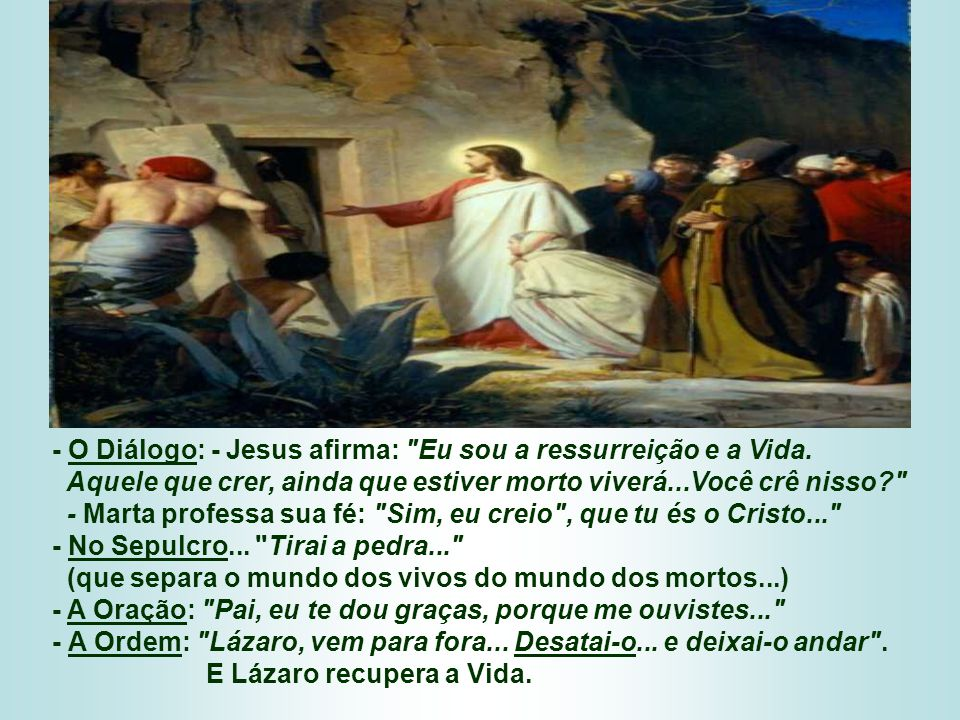 No Evangelho, Jesus se apresenta como o SENHOR DA VIDA. (Jo 11,1-45) - O Fato: Mandam dizer: