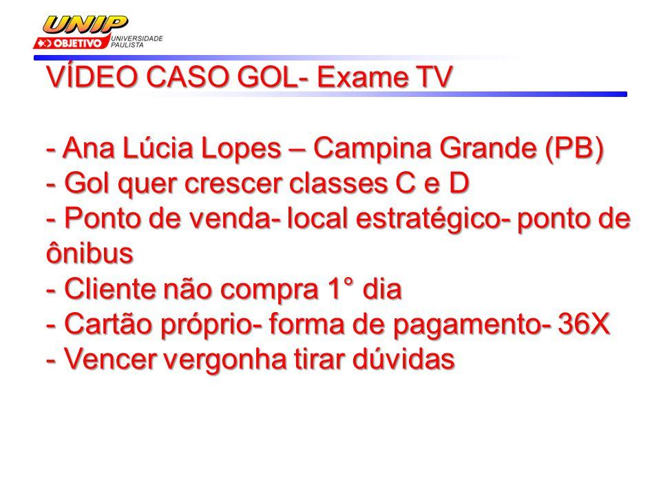VÍDEO CASO GOL- Exame TV - Ana Lúcia Lopes – Campina Grande (PB) - Gol quer crescer classes C e D - Ponto de venda- local estratégico- ponto de ônibus