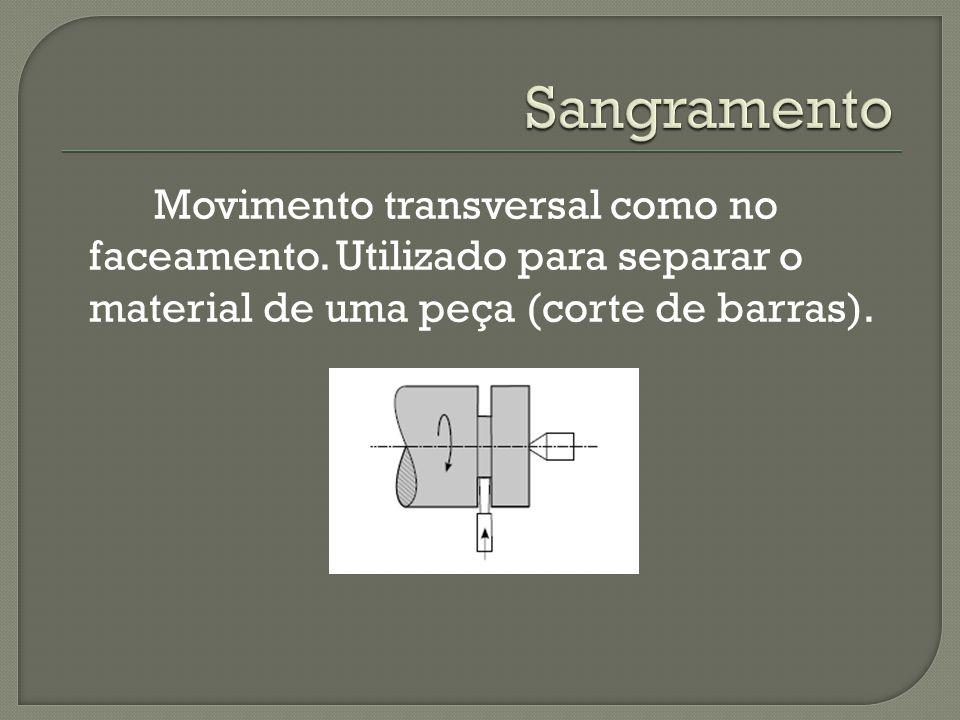 Movimento transversal como no faceamento. Utilizado para separar o material de uma peça (corte de barras).