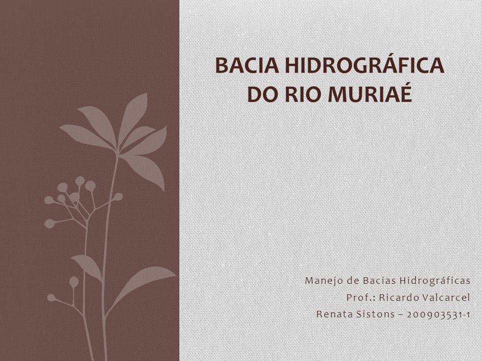 Manejo de Bacias Hidrográficas Prof.: Ricardo Valcarcel Renata Sistons – 200903531-1 BACIA HIDROGRÁFICA DO RIO MURIAÉ