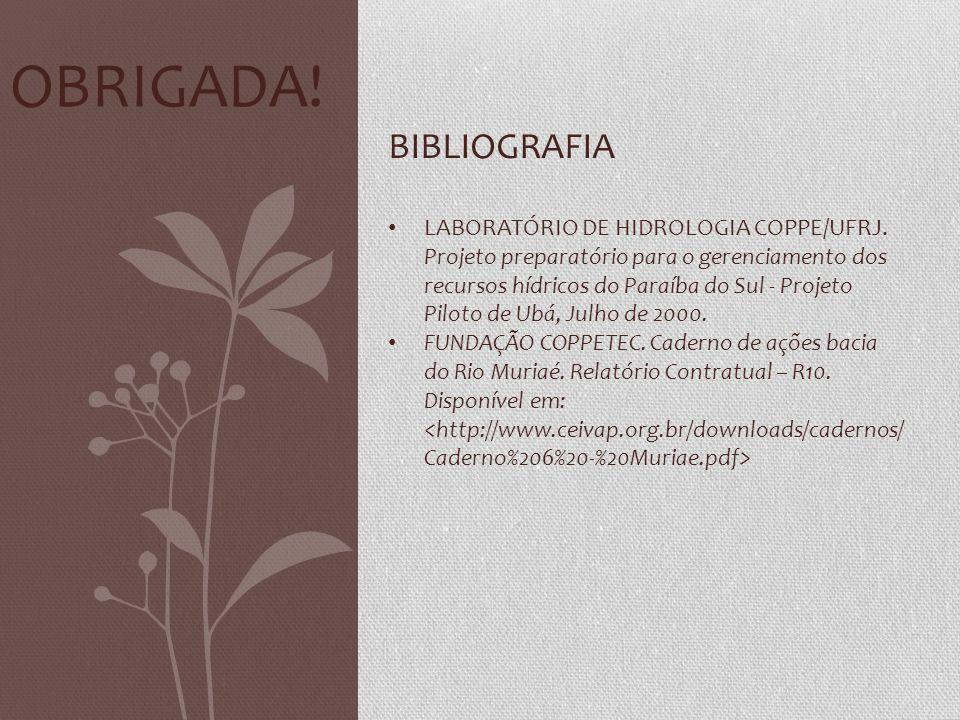 OBRIGADA! BIBLIOGRAFIA • LABORATÓRIO DE HIDROLOGIA COPPE/UFRJ. Projeto preparatório para o gerenciamento dos recursos hídricos do Paraíba do Sul - Pro
