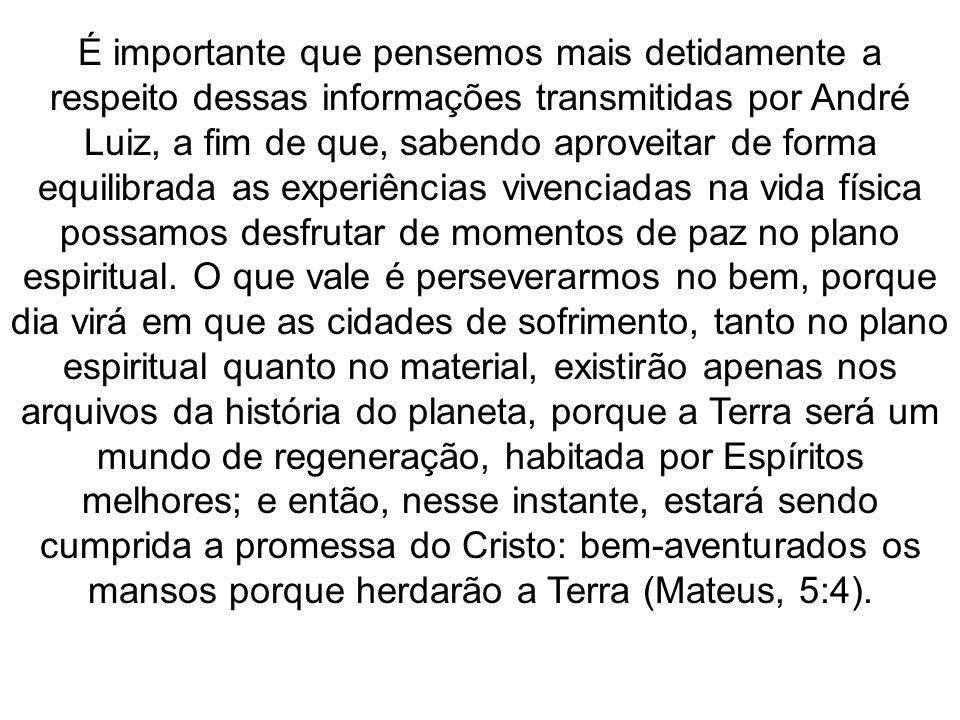 É importante que pensemos mais detidamente a respeito dessas informações transmitidas por André Luiz, a fim de que, sabendo aproveitar de forma equili