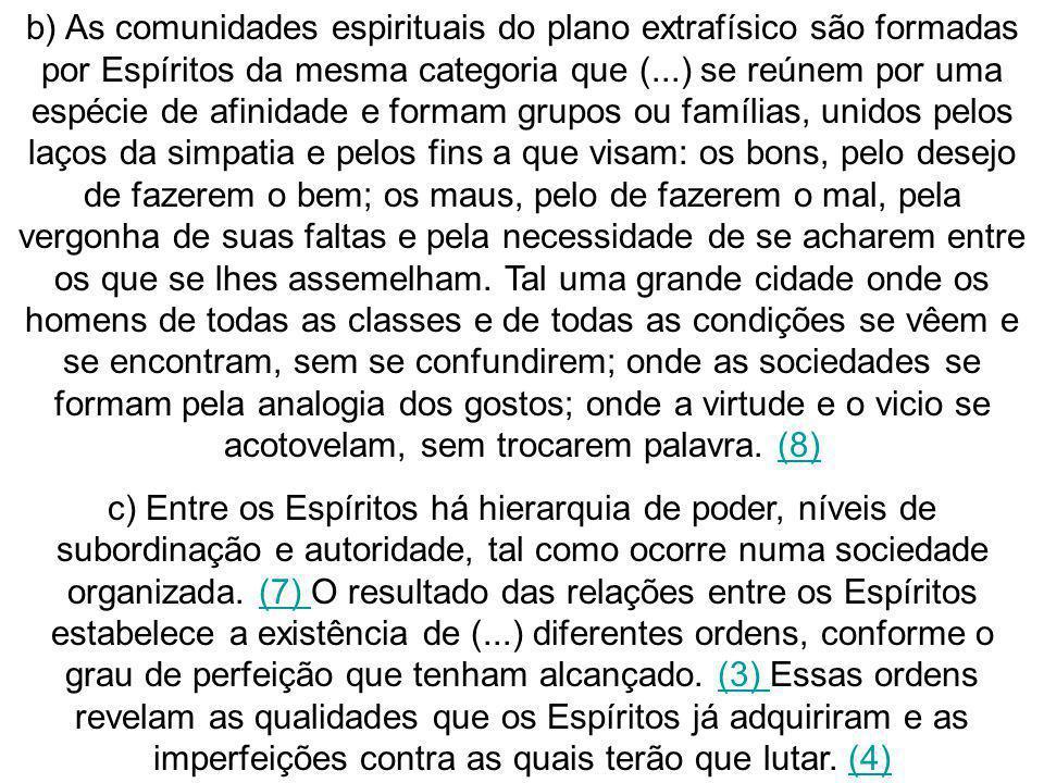 b) As comunidades espirituais do plano extrafísico são formadas por Espíritos da mesma categoria que (...) se reúnem por uma espécie de afinidade e fo