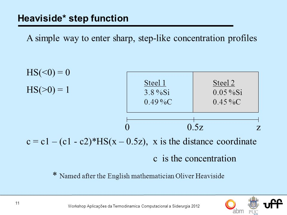11 Workshop Aplicações da Termodinamica Computacional a Siderurgia 2012 Heaviside* step function A simple way to enter sharp, step-like concentration profiles HS(<0) = 0 HS(>0) = 1 c = c1 – (c1 - c2)*HS(x – 0.5z), x is the distance coordinate c is the concentration Steel 1 3.8 %Si 0.49 %C Steel 2 0.05 %Si 0.45 %C 0z0.5z * Named after the English mathematician Oliver Heaviside