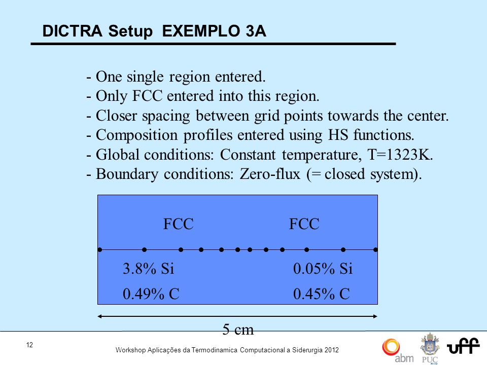 12 Workshop Aplicações da Termodinamica Computacional a Siderurgia 2012 DICTRA Setup EXEMPLO 3A 5 cm FCC 3.8% Si 0.49% C FCC 0.05% Si 0.45% C - One single region entered.