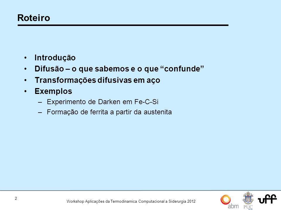 """2 Workshop Aplicações da Termodinamica Computacional a Siderurgia 2012 Roteiro •Introdução •Difusão – o que sabemos e o que """"confunde"""" •Transformações"""