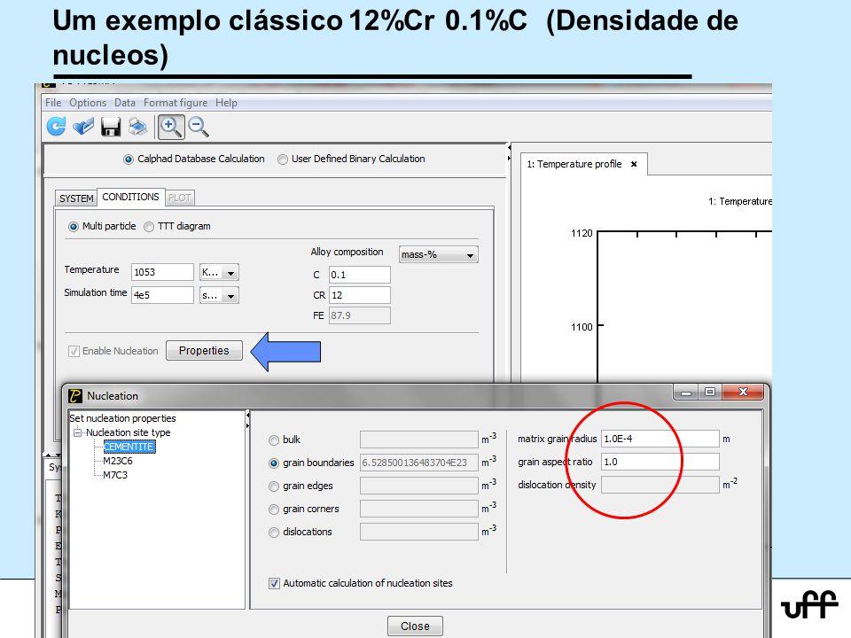 23 Workshop Aplicações da Termodinamica Computacional a Siderurgia 2012 Um exemplo clássico 12%Cr 0.1%C (Densidade de nucleos)