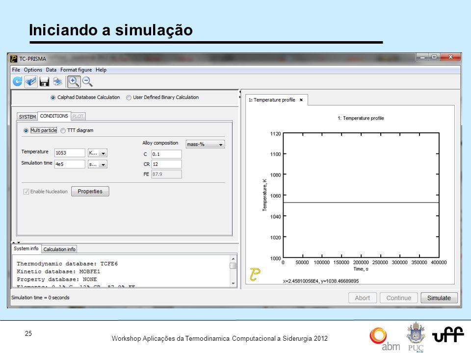 25 Workshop Aplicações da Termodinamica Computacional a Siderurgia 2012 Iniciando a simulação